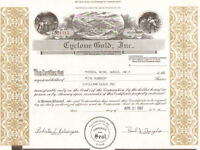 Cyclone Gold Inc. > Utah mine 1987 mining stock certificate