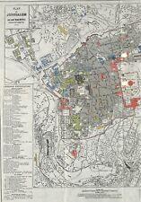 ANCIENNE CARTE OLD MAP  JERUSALEM GRAVURE ENGRAVING 1887