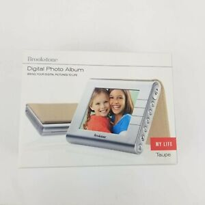 """Brookstone Digital Photo Album My Life 3.5"""" Portable Picture Frame Taupe openbox"""