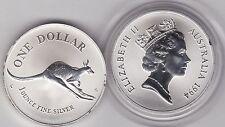 1994c Australia Argento 1oz. un dollaro Canguro in una capsula