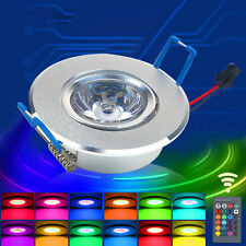 3W RGB LED Recessed Panel Light Color Change Ceiling Down Light+ Remote Control