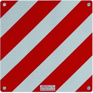 Pannello riflettente omologato per carichi sporgenti bianco rosso in alluminio