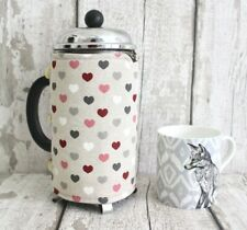 Hearts Coffee Pot Cosy. Cafetiere Cozy French Press Warmer Retro Kitchen Gift