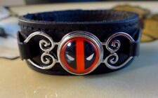 DEADPOOL SNAP BUTTON on genuine black leather bracelet Gifts for women