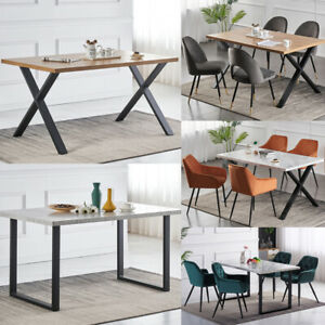 Wood Dining Table Set w/6 Faux Leather Chairs Seat Kitchen Home Furniture