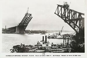 Construction of Sydney Harbour Bridge, 1923. Antique Photographic Postcard