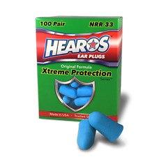New Hearos Original Formulation Xtreme Protection Ear Plugs (NRR 32) (100 pairs)