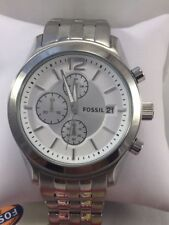 BRAND NEW FOSSIL BQ2034 WHITE DIAL SILVER TONE CHRONOGRAPH MEN'S WATCH