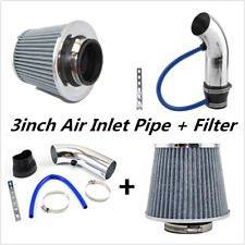 Universal Silver 76mm 3 inch Car Cold Air Intake Induction Pipe Filter+Tube Hose