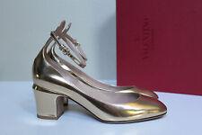 d6ad19e466e sz 8.5   39 Valentino Gold Metallic Leather Tan-Go Tango Ankle Strap Pump  Shoes