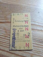 Deutsche Bahn Alte Personenzugkarte von Duisburg nach Gelsenkirchen 1975