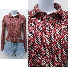 a07bf11a5 Vintage 70s Red white black geometric Print Shirt 6 8 XS Secretary Geek  Disco