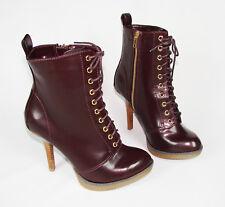 Sz: 7.5 High Heel Combat Ankle Platform Boot Booties Zip Up Stiletto Almond Toe
