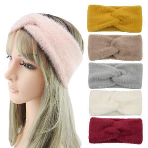 Winter Soft Mink Cashmere Headband Cross Knot Fluffy Bow Hairband Headwrap U80