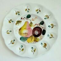 Hand Painted Made In Italy Pear Deviled Egg Plate