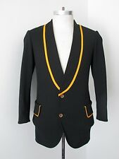 VGC Vtg 70s Mod Black Gold Stripe Poly Knit Band Uniform Jacket Tuxedo Blazer 36