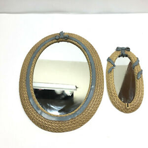 Vtg Small Oval Mirror Faux Rope Plastic Tan Set Country Decoration