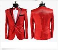 Mens  Men Tuxedo Suit Bling Sequins Jacket One Button Blazer Formal Wedding Coat