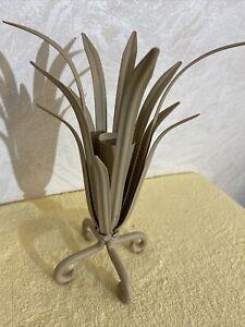 """flower vase/home decor metal. 12"""" Tall. Beige Color"""