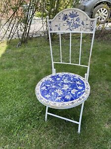 Vintage Patio Outside Metal Round Mosaic Inlay Chair