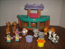 FISHER PRICE LITTLE PEOPLE NOAH'S ARK with Noah & Wife 10 Animals & Food