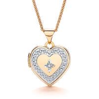 """Heart Locket Diamond Yellow Gold 18"""" Chain Solid Hallmarked"""
