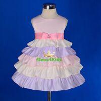 Satin Tiered Dress Wedding Flower Girl Birthday Party Occasion Size 1-3 FG240