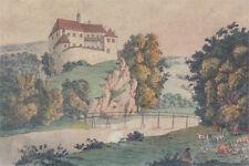 Aicha bei Karlsbad alter kolorierter Kupferstich