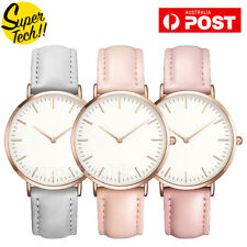 Women CLS Fashion Dress Watch Silver Rose Gold Black Faux Leather Ladies