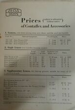 Vintage Price List for Zeiss Ikon Contaflex Cameras