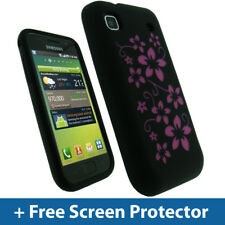 Black Flower Skin Gel Case for Samsung Galaxy S i9000 Silicone Cover Holder