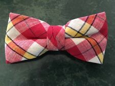 NEW    BOYS BOW TIES RED/YELLOW MADRAS /MADE IN THE USA