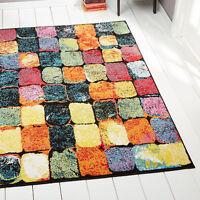 Mini-Cubes Modern Area Rug Multi-Color Blocks Abstract Floor Décor Carpet