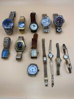 Lot Of 13 Watches - Seiko/Pulsar/Preston/Elgin/Baylor/Benrus.  Mostly Vintage.