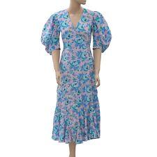 RHODE RESORT Fiona Floral-Print Cotton-Voile Wrap Midi Dress Boho XS NWT 203350