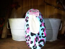 GIRLS HEART PRINT SLIPPERS SIZE 13-4 BLUE WITH VARIOUS PRINT SOFT FUR LINING NEW