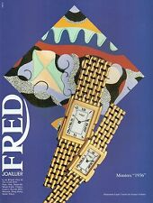 "▬► PUBLICITE ADVERTISING AD MONTRE WATCH Fred ""1936"" 1992"