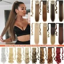 Natural Ponytail Clip In Hair Extensions Fake Pony Tail Hairpiece Real as Human