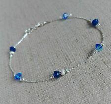 925 Sterling Silver SAPPHIRE & Crystal Bracelet chain Blue dainty