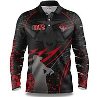 AFL 2020 Long Sleeve Fishing Polo Tee Shirt - Essendon Bombers - Adult Youth