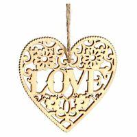 10pcs Laser Cut Love Heart Wooden Embellishment Craft Hanging Ornament Decor 8I