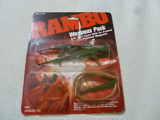 NEW ON CARD RAMBO WEAPONS PACK COLECO VINTAGE 1986 0836 CROSSBOW BULLWHIP PISTOL