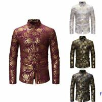 Shirt Slim Fit Mens Stylish Dress Shirts Long Sleeve Floral Casual Luxury Top