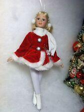 Ice Skater Figure Girl Porcelain Doll Christmas Tree Ornament