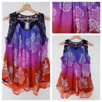 ❤️NEXT multicoloured ombre lace baggy loose fit blouse vest tank top size 12 665