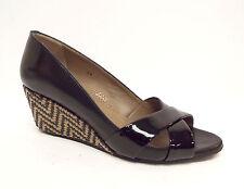 ANYI LU Size 6 Black Open Toe Wedge Heels Shoes 36