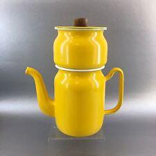 Vintage Yellow Enamel Danish Modern Drop Style Coffee Maker Mid Century Retro