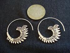 coppia orecchini ottone placcato argento modello septum nepal etnico bigiotteria