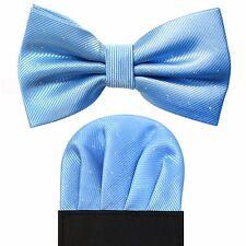 Metallic Dot Detail Pre Folded Pocket Square & Bow Tie Gift Set - Baby Sky Blue