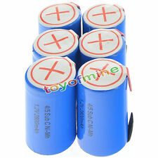 6 pcs 4/5 SubC Sub C 2800mAh 1.2V Ni-Mh Rechargeable Battery Blue Cell with Tab